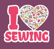 Graphic sticker I love SEWING. Doodle sewing and needlework equipment in a heart shape. Design emblem. Sewing illustration. Great for promoting and Royalty Free Stock Photography