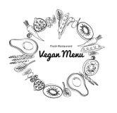 Graphic stroke vegetables and fruit round art. Vegan vegetable raw farm organic decorative background . Tomato avocado kiwi Stock Photography