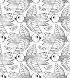 Graphic stylized birds seamless pattern. Royalty Free Stock Photo