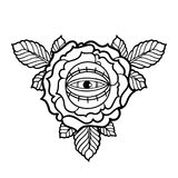 Graphic flower and all-seeing eye. Graphic stylized flower with all-seeing eye. Vector art for old school tattoo design isolated on white background. Coloring Royalty Free Stock Photo