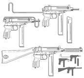 Graphic submachine gun with ammo clip. Graphic black and white detailed submachine gun with ammo clip and silencer. Isolated on white background. Vector icon set vector illustration