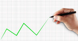 Graphic of success, hand drawing green line. Of growth Royalty Free Stock Photography