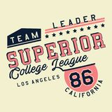 Graphic SUPERIOR COLLEGE LEAGUE. Design alphabet and numbers SUPERIOR COLLEGE LEAGUE for t-shirts Stock Photos