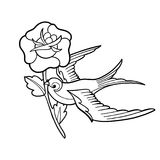 Graphic swallow carrying flower. Flying graphic swallow carrying red flower. Vector old school tattoo design isolated on white background. Traditional style Stock Photos