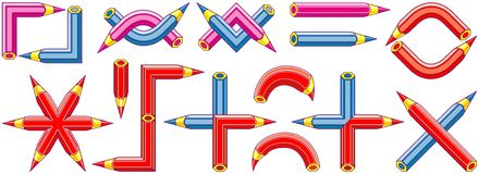 Graphic symbols created from pencils - 2 Stock Photo