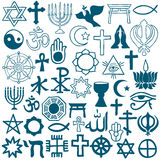Graphic symbols of different religions on white. Blue graphic symbols of different religions as Christinity, Islam, Judaism, Buddhism, Jainism, Sikhism or Stock Photo