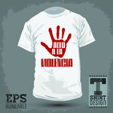 Graphic T- shirt design -Alto a la violencia - Stop Violence spanish text Stock Image