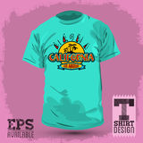 Graphic T- shirt design, California badge, emblem Royalty Free Stock Images