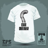 Graphic T- shirt design - Cat Owner, Cat tail Icon - emblem Royalty Free Stock Photography