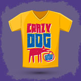 Graphic T-shirt design - crazy dog Royalty Free Stock Photo