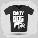 Graphic T-shirt design - crazy dog - vector Typographic Design Stock Images