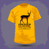 Graphic T-shirt design -Genuine impala. Vector illustration Royalty Free Stock Photo