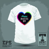 Graphic T- shirt design - happy Valentines day Stock Images