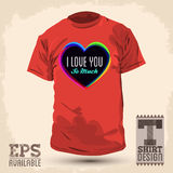 Graphic T shirt design - i love you so much. Vector illustration - shirt print royalty free illustration