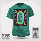 Graphic T- shirt design - Mexican Virgin of Guadal. Upe - vintage silkscreen style poster - Vector illustration Stock Photography