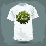 Graphic T- shirt design - Piensa Verde - Think Green Spanish text. Lettering - Organic Bio sphere With vegetation Royalty Free Stock Photos
