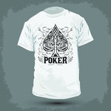 Graphic T- shirt design - Poker Spade emblem Stock Image