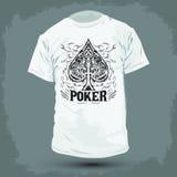 Graphic T- shirt design - Poker Spade emblem Stock Image