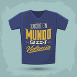 Graphic T- shirt design - Quiero un Mundo sin violencia Royalty Free Stock Images