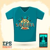Graphic T-shirt design, Sayulita Mexico Vector illustration, shirt print. Royalty Free Stock Images