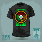 Graphic T- shirt design - Smoke weed badge - red eye icon Stock Photography