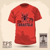 Graphic T-shirt design -Tarantula lettering design Royalty Free Stock Photos