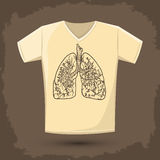 Graphic T- shirt design, vector illustration with lungs Royalty Free Stock Images