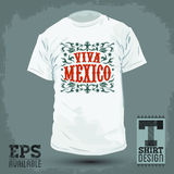 Graphic T- shirt design - Viva Mexico badge Stock Photography