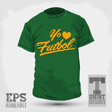 Graphic T- shirt design - Yo amo el Futbol - I Love Soccer - Football spanish text Royalty Free Stock Photos