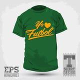 Graphic T- shirt design - Yo amo el Futbol - I Love Soccer - Football spanish text Royalty Free Stock Photos