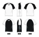 Graphic T shirt raglan Sleeve V-neck,. Black White blank front, back,  images Stock Photo