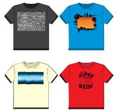 Graphic t-shirts. On white background Stock Photos