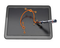 Graphic tablet with bezier curve and pen Stock Photos