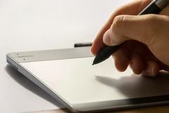 Graphic tablet with his pen tool Stock Image