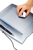 Graphic tablet with mouse and pen on a white background Stock Photo