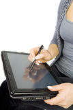 Graphic tablet PC. Woman hands on graphic tablet PC  Isolated on white background Royalty Free Stock Photos