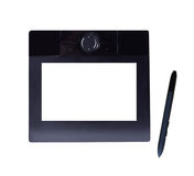 Graphic Tablet and Pen. Black graphic table with blank LCD and pen isolated on white, clipping path included Stock Image