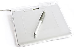 Graphic tablet with pen. On white background Stock Photography