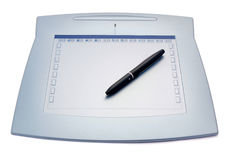 Graphic tablet with pen Royalty Free Stock Photo