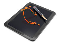 Graphic tablet with pen and bezier curve Stock Photo