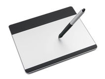 Graphic tablet with pen drawing Stock Photo