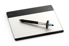 Graphic tablet with pen Stock Photography