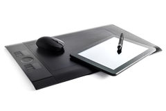Graphic tablet. Pen on isolated background and i-pad Royalty Free Stock Photos