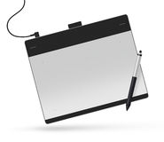 Graphic tablet with stylus illustration. Big picture of digitize. R device with digital pen  on white. Creative draw tool for designers. Icon of tablet display Stock Photography