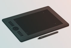 Graphic tablet and stylus. Realistic black graphic tablet and stylus nearby. Tool for creativity. Modern device for graphic design. Tinting effect Royalty Free Stock Photography