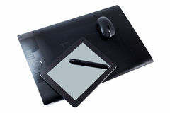 Graphic tablet. And tab on white isolated background Stock Photos