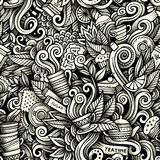 Graphic Tea time hand drawn artistic doodles seamless pattern Royalty Free Stock Photography