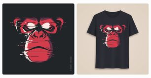 Graphic tee shirt design, print with glitch styled angry chimp. Vector illustration stock illustration