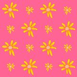 Seamless pattern with coloful flowers on white background. Graphic texture with buttercups. Hand drawing pattern for print. Flowers are isolate Vector Illustration