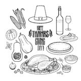 Graphic Thanksgiving day collection. Drawn in line art style. Vector holiday attributes isolated on white background. Coloring book page design for adults and Royalty Free Stock Image